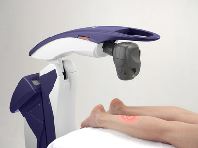 Patient Receiving MLS Laser Therapy on lower leg